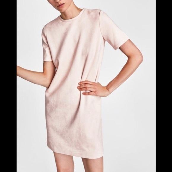 Zara Dresses & Skirts - Zara Blush Faux Suede Dress